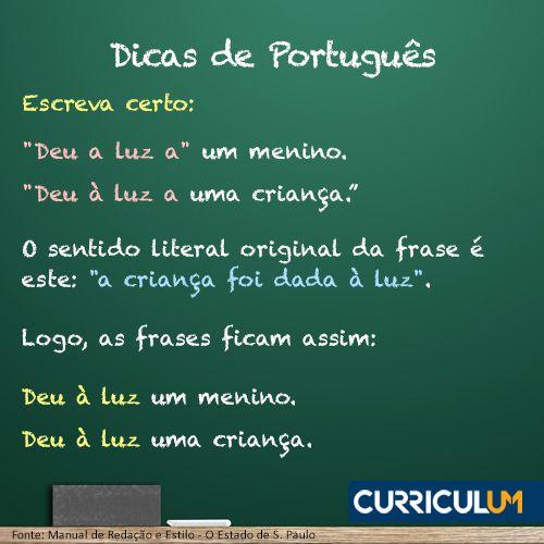 Garanta um português correto no currículo! Conte com nossa Revisão ou Análise de Currículo: http://www.curriculum.com.br/candidatos-ferramentas-revisao-e-analise.asp #DicasCurriculum