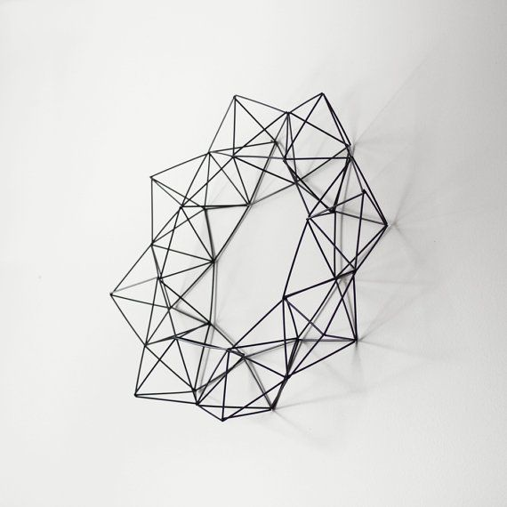 Himmeli Wreath / Rigid Straw / Modern Geometric Wall by HRUSKAA