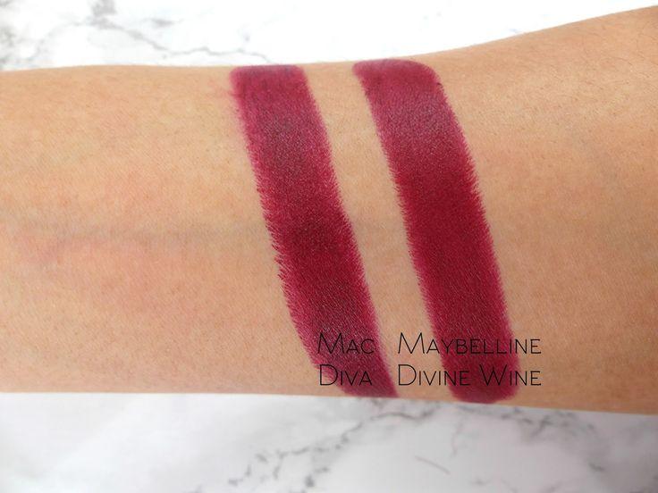 MAC Diva lipstick vs Maybelline Divine Wine
