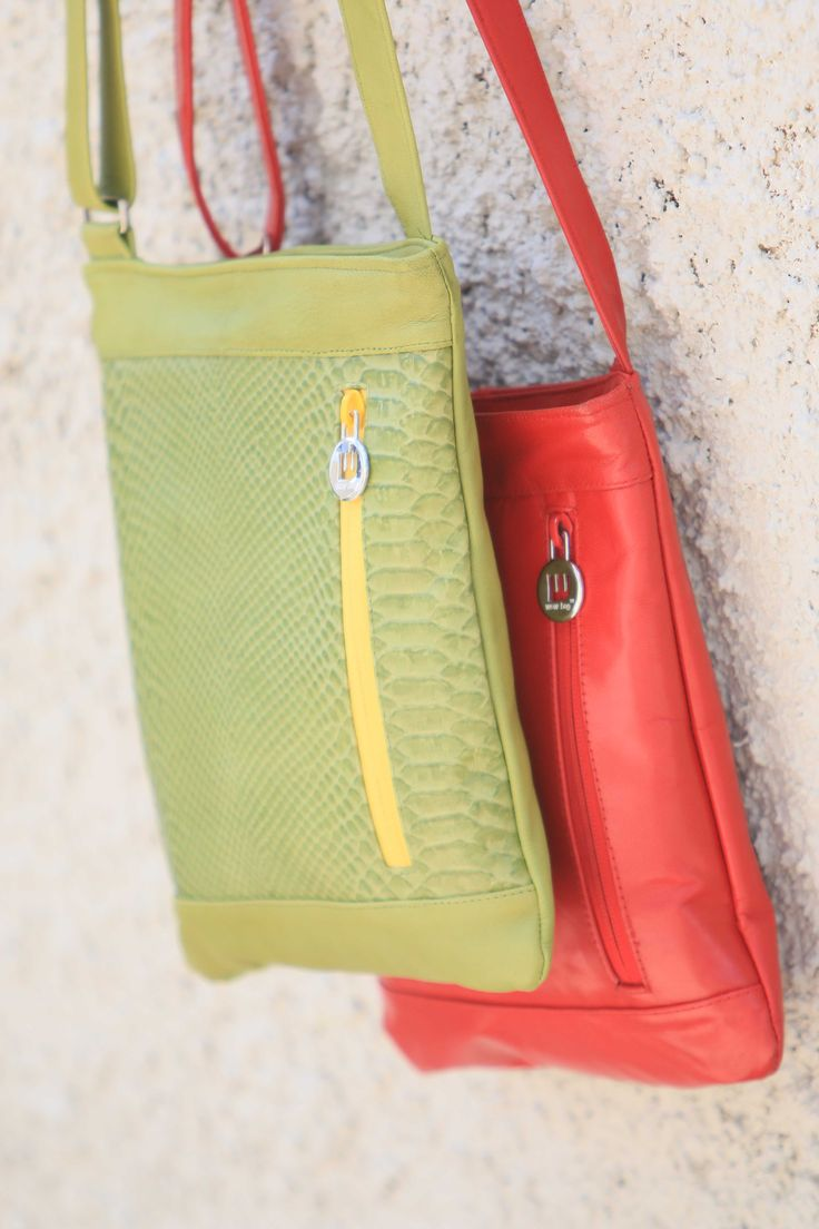 Kiwi Green Sling or Cherry Red ? 100% kid goat leather! Classical yet trendy, limited stock available at www.wowbagonline.com
