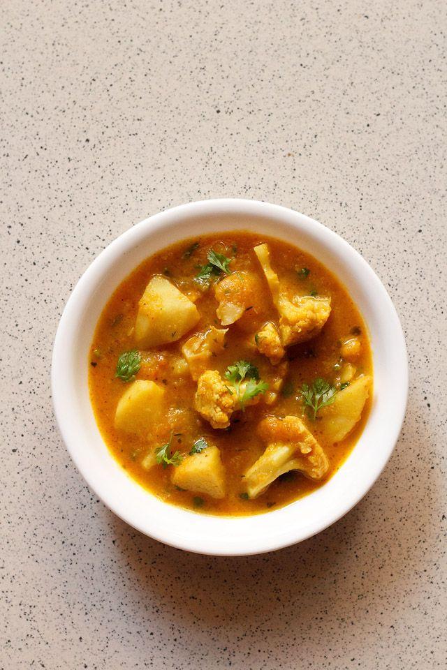 aloo gobi curry, how to make punjabi aloo gobi recipe | dhaba style
