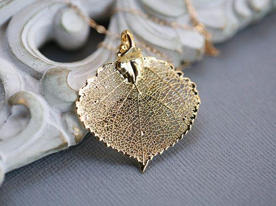 Chute des feuilles de peuplier faux-tremble bébé, or ou argent, collier de feuilles, de demoiselle d'honneur cadeaux, automne mariage, Lariat, personnalisé, bijoux de mariage