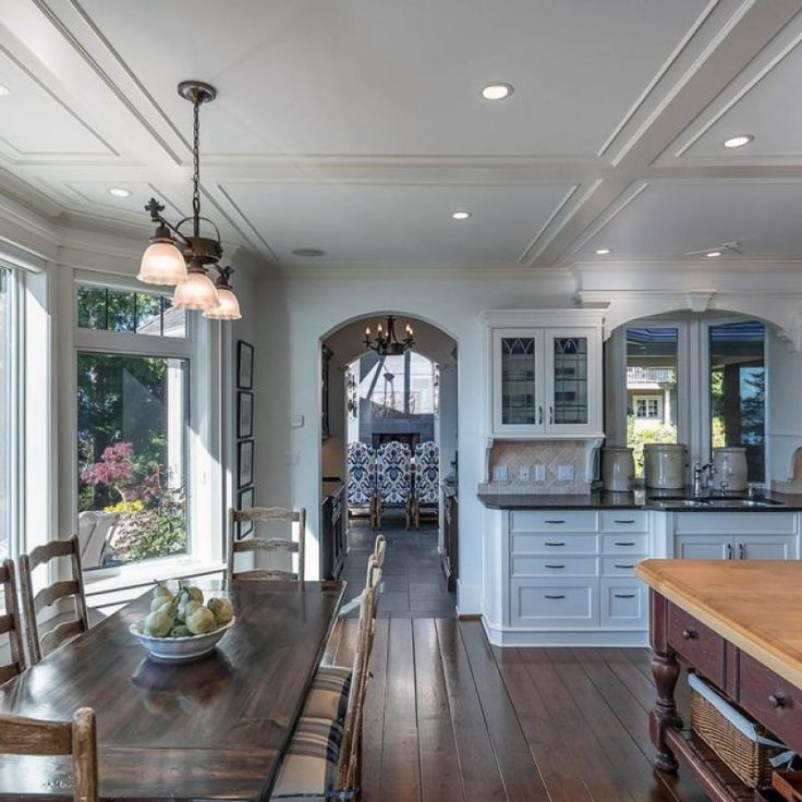 low profile coffered ceiling in an open floor plan kitchen