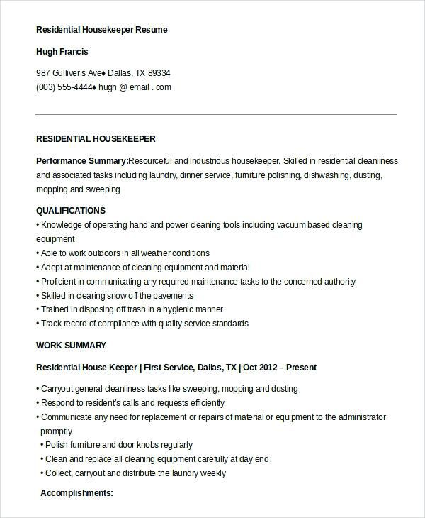 Resume Examples Housekeeping Executive Housekeeper Hospital Download
