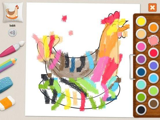 """""""Hen"""" - Julia (age 5). #coloring #pages #memollow - #app for #kids"""