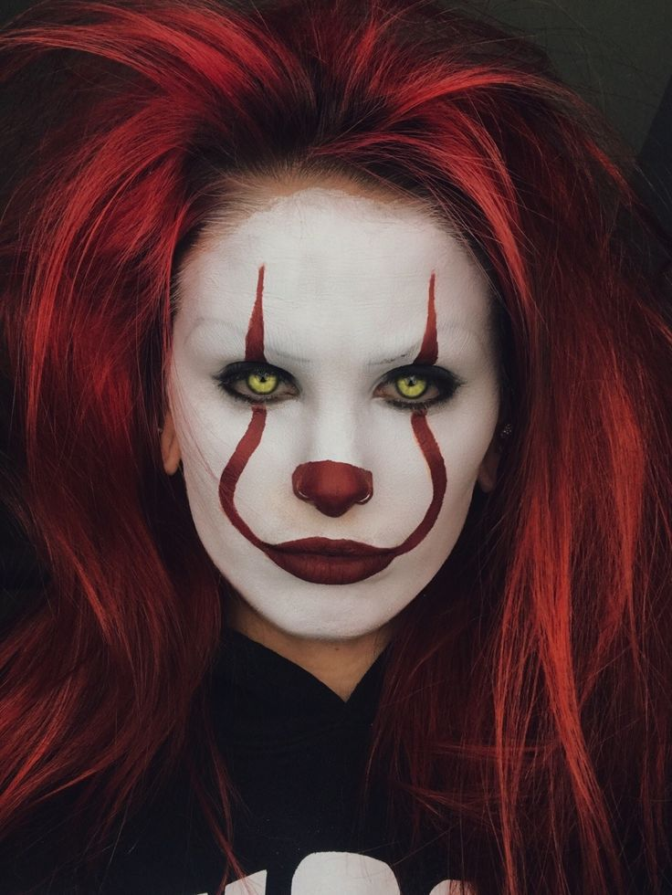 """kepk0: """"My (quick) Pennywise makeup before I went to see IT. @sixpenceee """" I love it wow."""