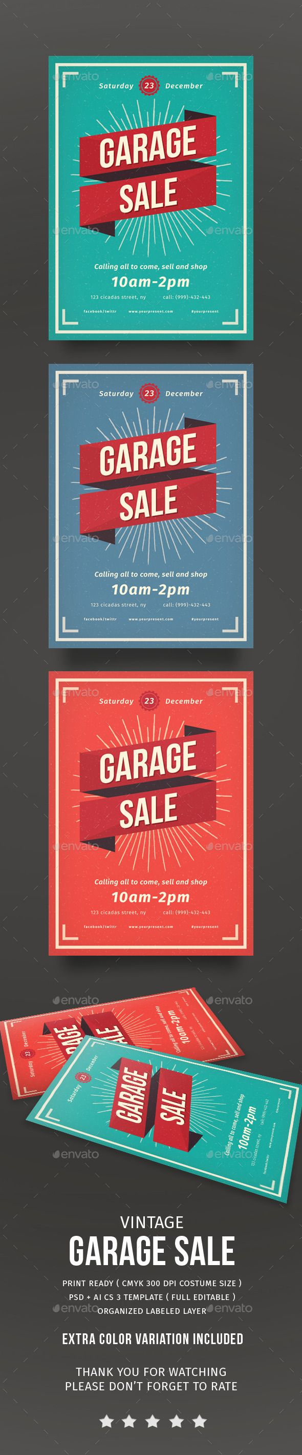 Vintage Garage Sale Flayer Template PSD #design Download: http://graphicriver.net/item/vintage-garage-sale-flayer/14118689?ref=ksioks