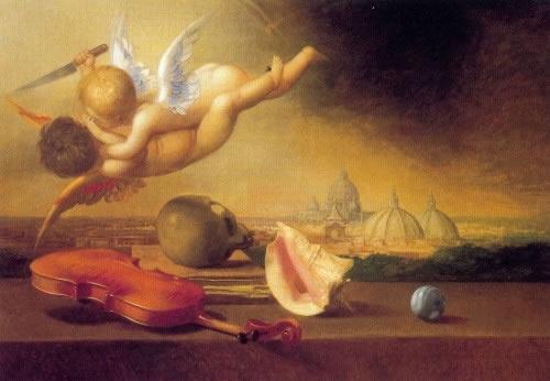 Riccardo Tommasi Ferroni  Lotta di Amorini  1991  Olio su tela  77 x 110