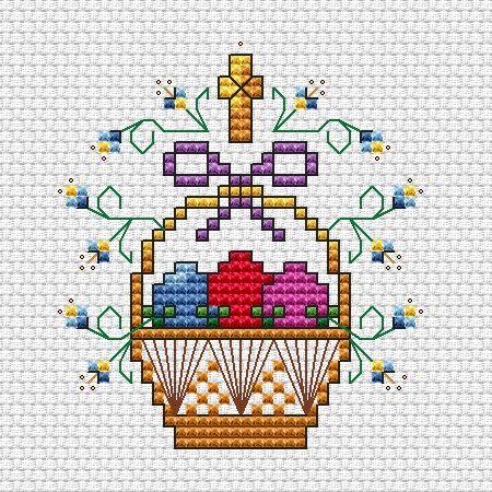 пасхальная корзинка с яйцами вышивка крестом схема