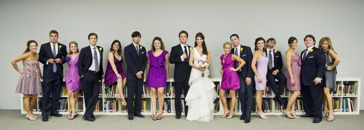 Cute purple mismatched bridesmaids