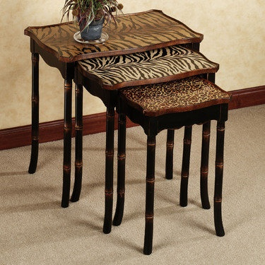 Jawara Animal Print Nesting Table Set And Each Table Has