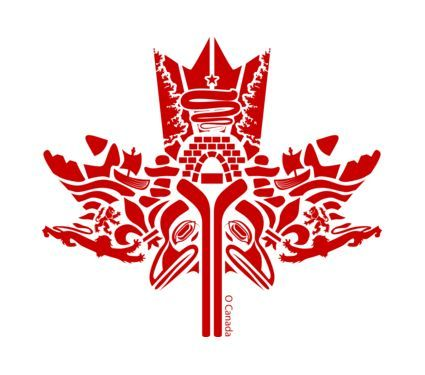 Beautiful First Nations Canadian maple leaf art.