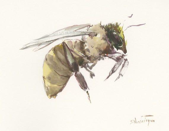 Flying Bee, Original watercolor painting, 10 X 8 in, flying honey bee art, bee lover painting