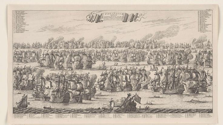 Bastiaen Stopendael   Zeeslag bij Kijkduin, 1673, Bastiaen Stopendael, 1685 - 1687   Zeeslag bij Kijkduin, 21 augustus 1673. Zeeslag voor Kijkduin bij Den Helder en Texel tussen de Staatse vloot onder Mchiel de Ruyter en Cornelis Tromp en de gecombineerde Engels-Franse vloot onder prins Rupert en de graaf Jean d'Estrées (II). Onderaan en bovenaan de legenda 1-115 in 3 delen.
