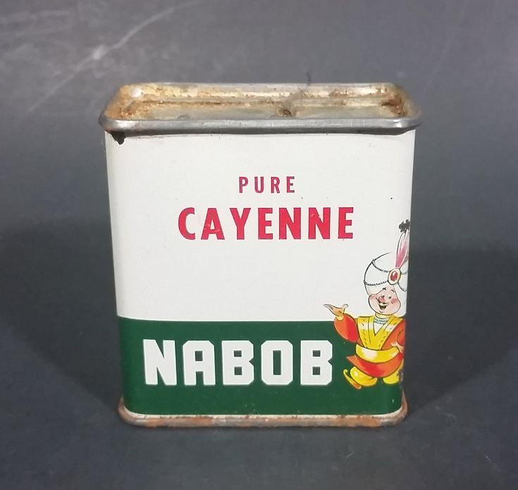 1950s Nabob Foods Vancouver Pure Cayenne Pepper Powder Spice Tin - Still has product inside https://treasurevalleyantiques.com/products/1950s-nabob-foods-vancouver-pure-cayenne-pepper-powder-spice-tin-still-has-product-inside #Vintage #MidCentury #Nabob #Foods #Vancouver #BritishColumbia #Canada #Canadian #Pure #Cayenne #Pepper #Powder #Spices #Tins  #Foods #Kitchen #Collectibles #Decor