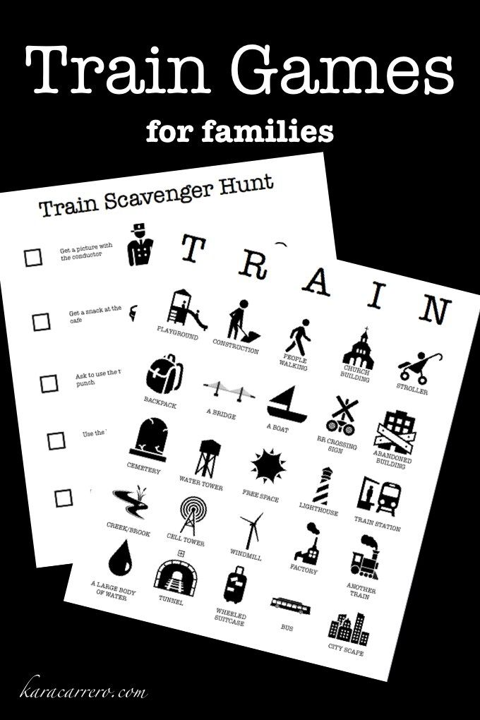 "Printable train bingo and scavenger hunt games for kids and families traveling on Amtrak and other train services. Has fun rules and names for each kind of bingo ""win"""