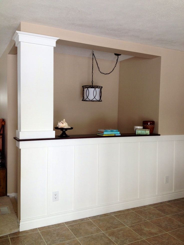 Columns between half wall google search stairway for 1 2 wall kitchen ideas