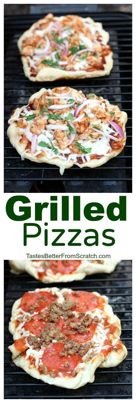 The easiest and most delicious way to eat pizza! We LOVE these grilled pizzas and they're so easy to make from home! On http://MyRecipeMagic.com