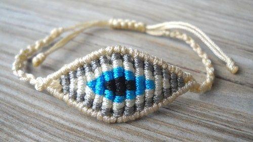 Off White Evil Eye Fuchsia Macrame Bracelet   pavlos - Jewelry on ArtFire