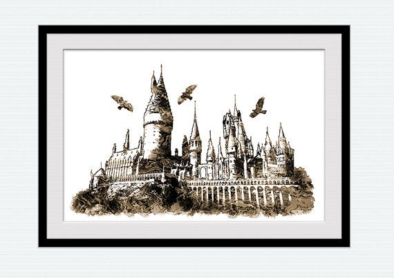 harry potter aquarell print hogwarts poster hogwarts drucken harry potter poster home dekoration. Black Bedroom Furniture Sets. Home Design Ideas