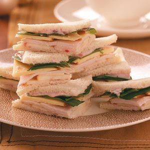 Turkey, Gouda, & Apple Tea Sandwiches. Use a whole wheat wrap or ditch the bread and wrap in the turkey instead.