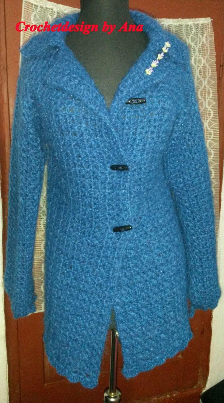 Crochet cardigan elegant, soft , blue