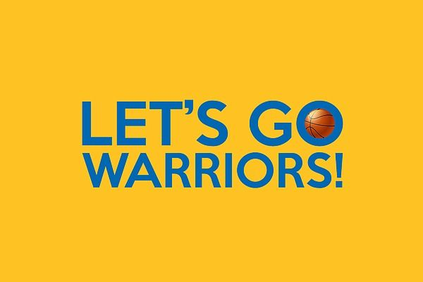 "A typography artwork dedicated to the Golden State Warriors basketball team and its fans, sporting the ""Let's Go Warriors!"" chant and the team colors."