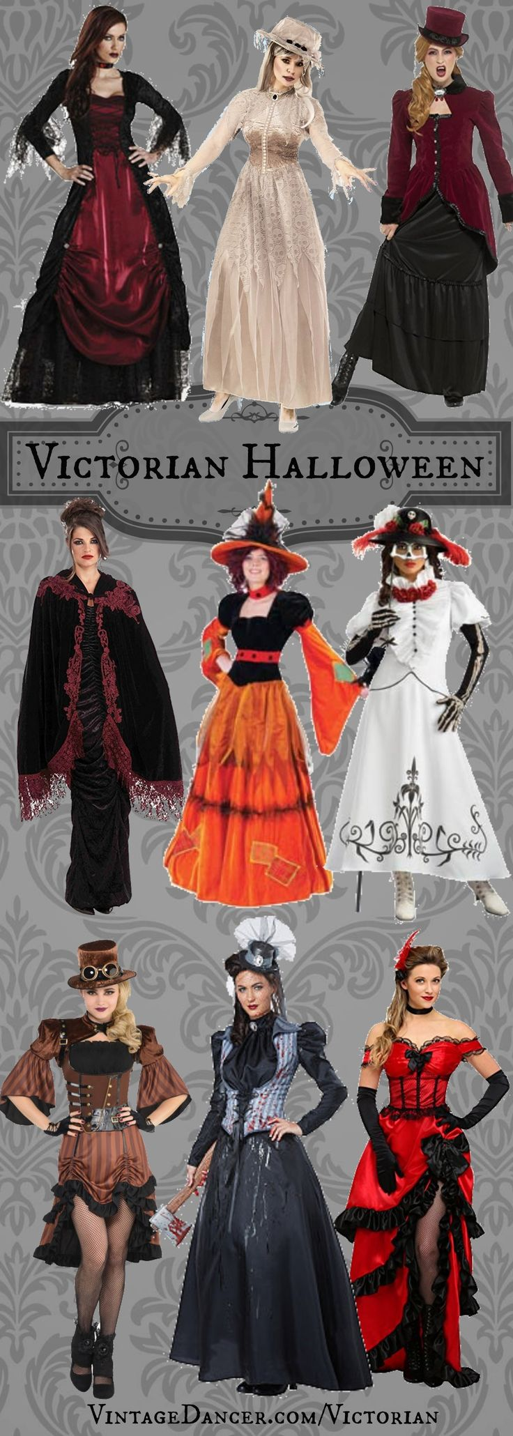 Victorian Halloween Costume Ideas: vampire, ghost, Halloween witch, Dia de los Muertos, Ringmaster, Steampurk, Axe Murdered, Saloon girl and more