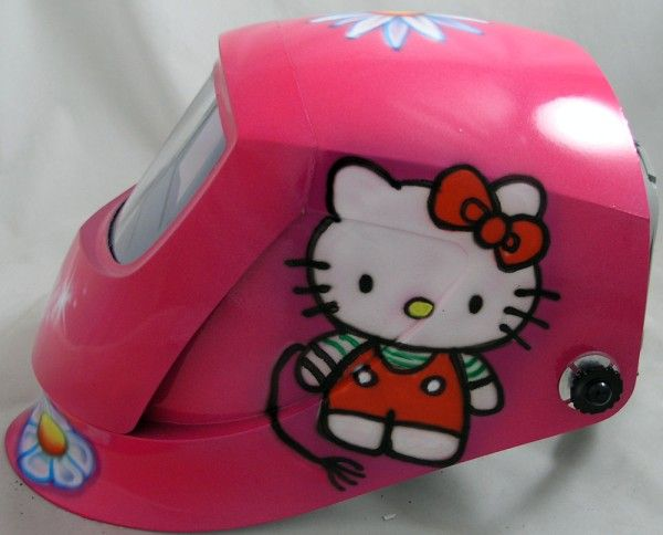 Hello Kitty Welding MaskKitty Welding, Welding Helmets, Things Pink Hello, Custom Welding, Welding Masks, Kitty Castles, Hello Kitty, Welder Helmets, Kitty Welder