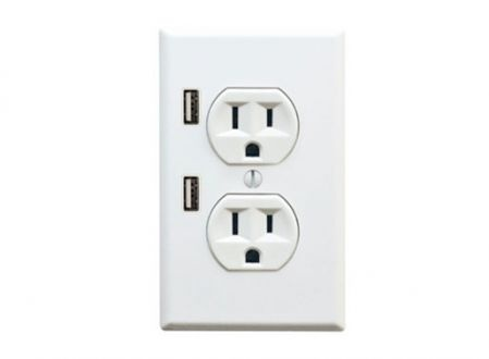 Finally! Electrical outlet & usb charger: Ideas, Usb Wall, Usb Outlet, Outlets, U Socket, Charging Station, Usb Port