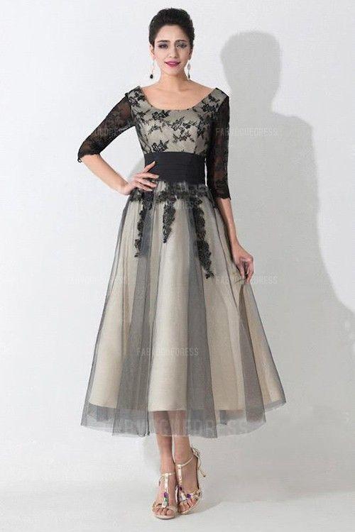 e15559d8e07e A-Line Princess Scoop Tea-length Tulle Mother of the Bride Dress ...