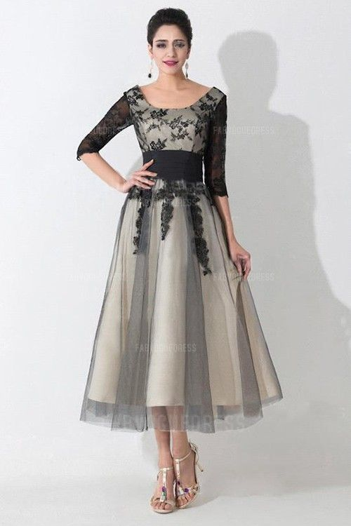 A-Line/Princess Scoop Tea-length Tulle Mother of the Bride Dress