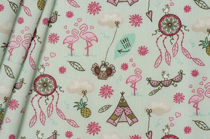 B* Inspired by Poppy Katoen Poplin, Flamingo Dreams Mint
