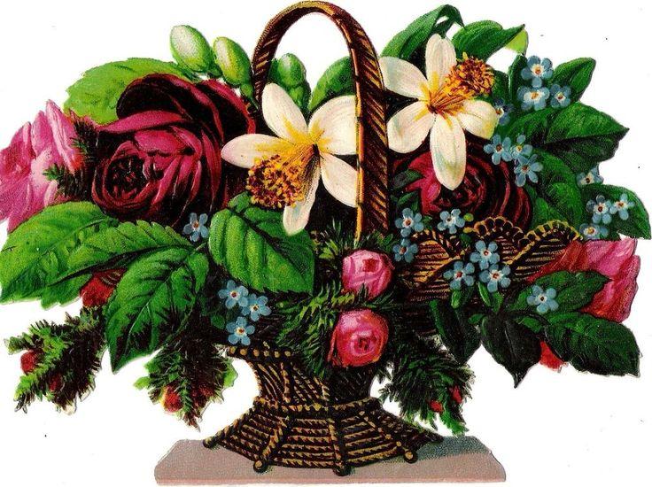 Oblaten Glanzbild scrap die cut chromo Blumen Korb  15,5 cm basket flower fleur