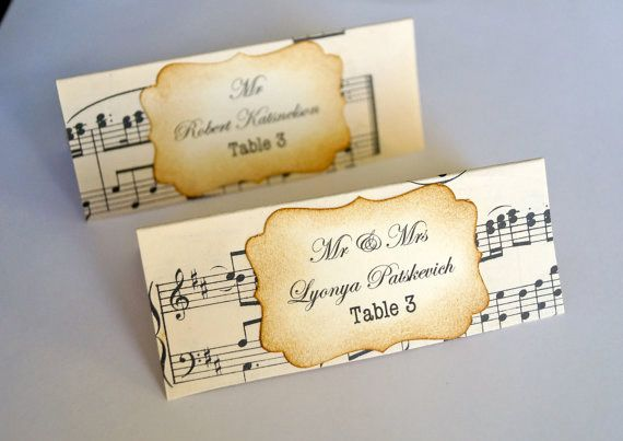 Music themed escort cards