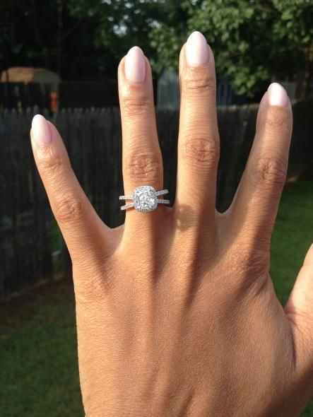my henri daussi split shank cushion ring :  wedding jewelry ring silver white Photo 3