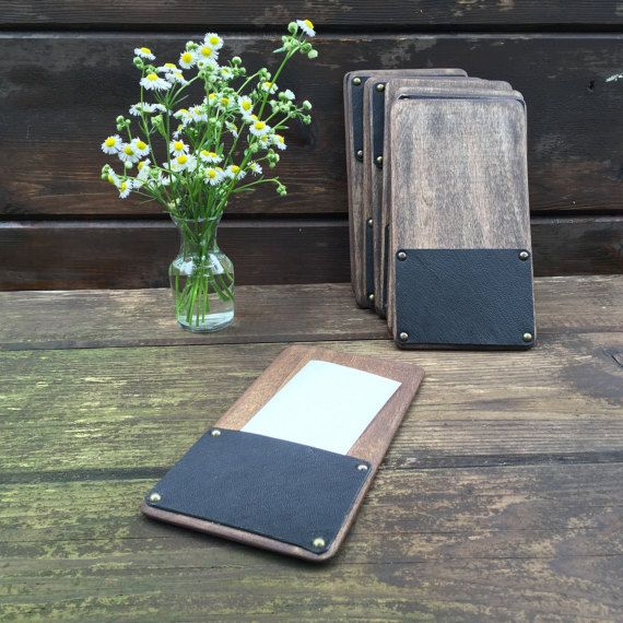 Wow your guests through the end of their meal with a beautiful hand made solid wood check presenter. The leather I use is sourced from a local tannery and is available in any color you want. The wood is also locally sourced and milled. Each piece is hand sanded and stained with a two in one sealer that protects against water damage and highlights the beautiful natural wood grain. Choose the size that best works for your restaurants receipt size: 4.25 x 8.5 Work for receipts that are 3.25…