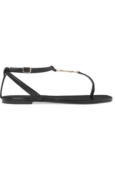 Saint Laurent - Embellished Leather Sandals - Black - IT