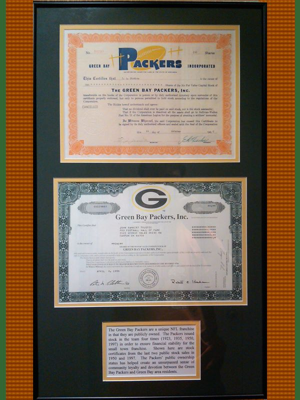 """""""The Green Bay Packers public ownership status has helped create an unsurpassed sense of community loyalty and devotion between the Green Bay Packers and Green Bay area residents."""" Shown here are two of the stock certificates from public stock sales in 1950 (upper) and 1997 (lower). Get Tickets for the …"""