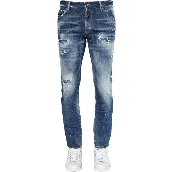 Dsquared2 Men 16.5cm Cool Guy Cotton Denim Jeans (2.110 BRL) ❤ liked on Polyvore featuring men's fashion, men's clothing, men's jeans, dad, blue, mens blue ripped jeans, mens jeans, mens torn jeans, mens distressed jeans and mens destroyed jeans