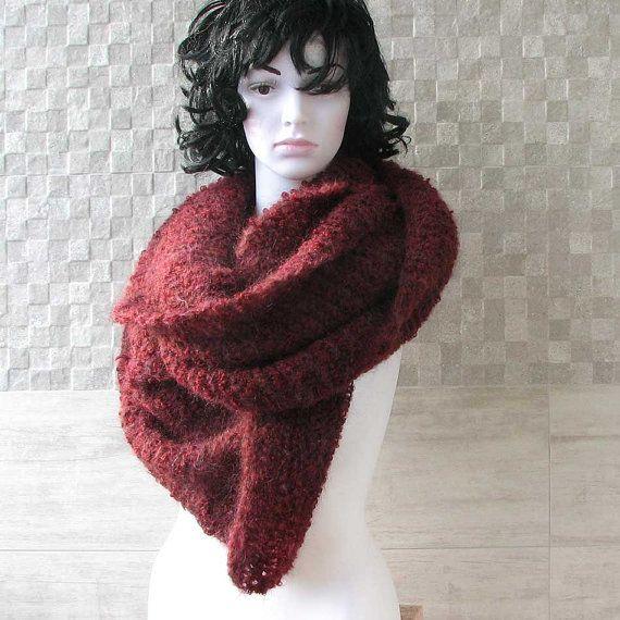 Chunky Knit Scarf Oversized Knit Scarf Burgundy by AlbadoFashion