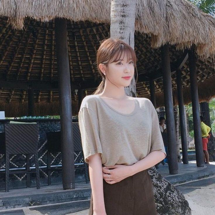 ♡リネンブレンド無地半袖Tシャツ♡ #レディースファッション #ファッション通販 #ファッショントレンド #新作 #最新 #モテ服 #韓国ファッション #韓国レディース通販 #ootd #wiw  #fashionaddict #womensfashion #fashion  https://goo.gl/TXIHQo