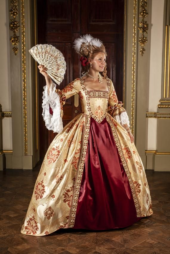 Heavy Brocade Satin With Pearl And Stone Trim Venice Ball Dress Marie Antoinette Versailles Rococo Georgian 18thc Fully Corseted In 2021 Rococo Dress Marie Antoinette Dresses 18th Century Ball Gown
