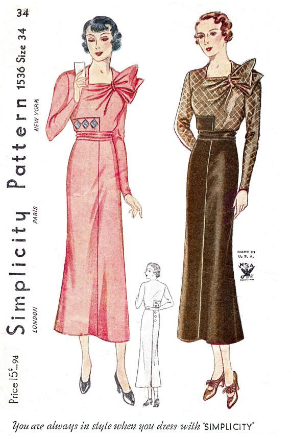 Vintage Sewing Pattern Reproduction 1930s 30s Dress Day Or Etsy Vintage Sewing Patterns Vintage Sewing Vintage Dress Patterns
