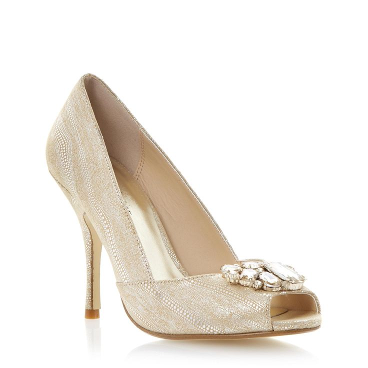 Gold Peep Toe Shoes Dune