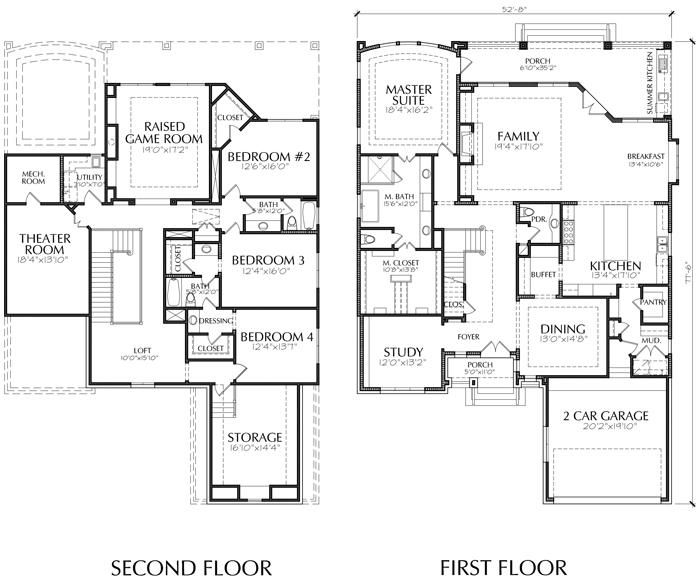 This Two Story House Plan Has 4679 Square Ft Of Living Space This Two Story Home Plan Design Has A Depth Of 77 Two Story House Plans House Plans Story House