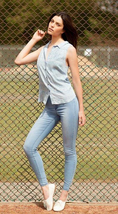 #Denimondenim A button down sleeveless denim shirt and ...