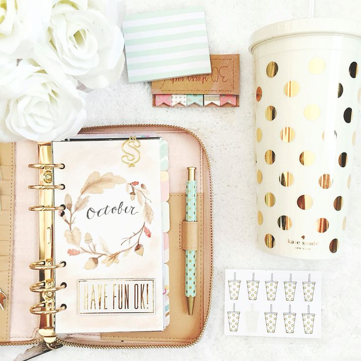 I love all office Kate Spade. It's perfect! | Planner & good polka dot mug accents