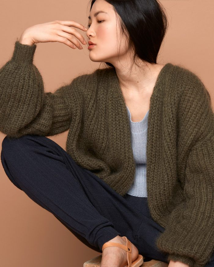 Patent stitch open front cardi. Mohair + polyamide + merino. Sabrina Weigt aka The Knit KID