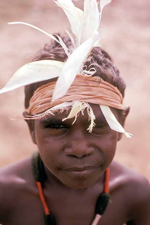 A young Yanyuwa boy, wearing a feather headdress during his ''Marndiwala'' initiation ceremony in Borroloola.